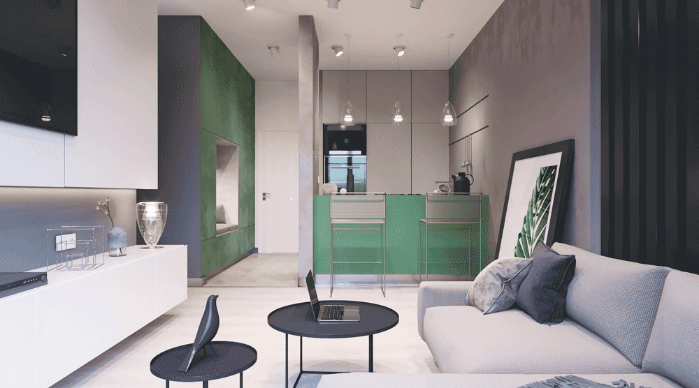 Light colors apartment with a green accent
