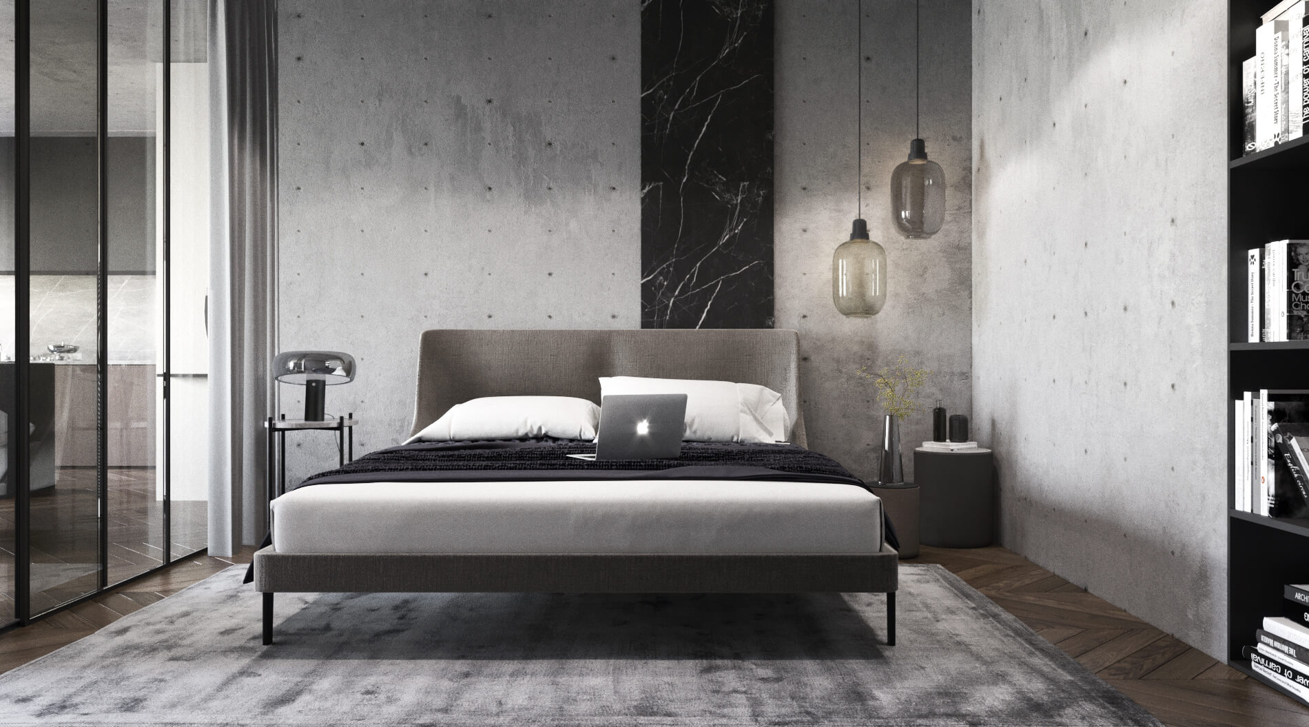 Stylish bedroom in dark colors