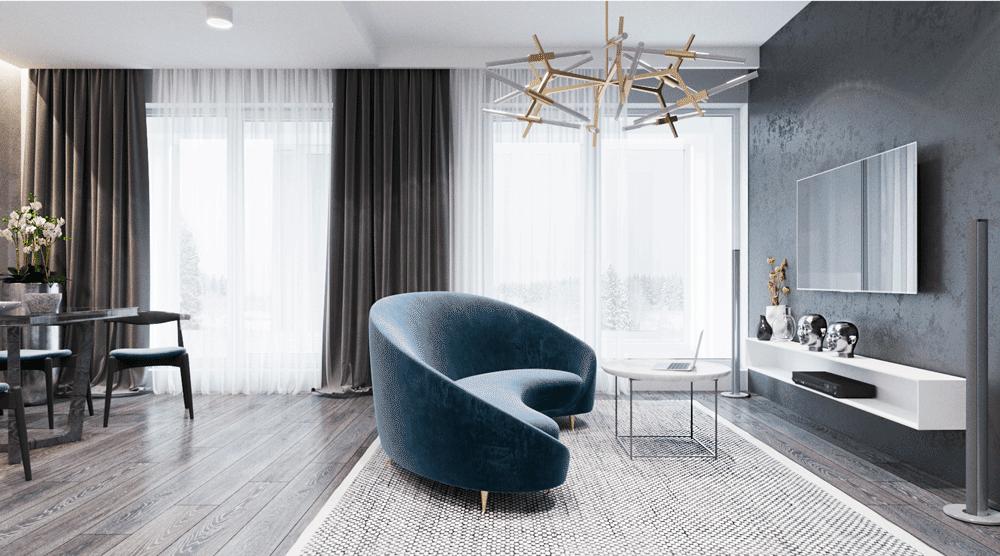 Красивый интерьер квартиры-студии