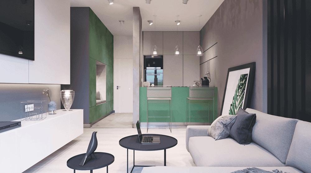 Mieszkanie jest w jasnych kolorach z zielonym akcentem