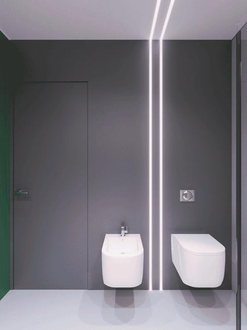 Szara łazienka w apartamencie Kraków