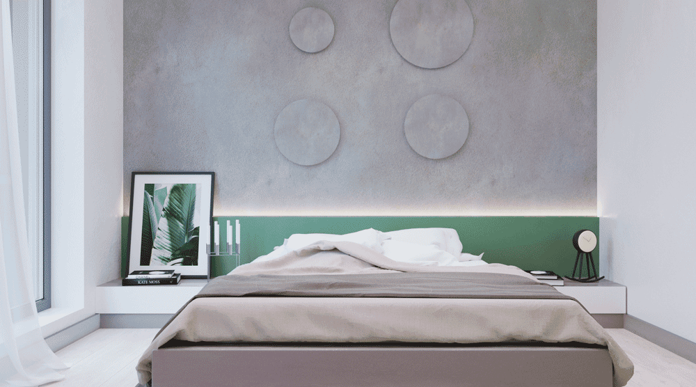 Jasna kolorystyka sypialni z zielonym akcentem