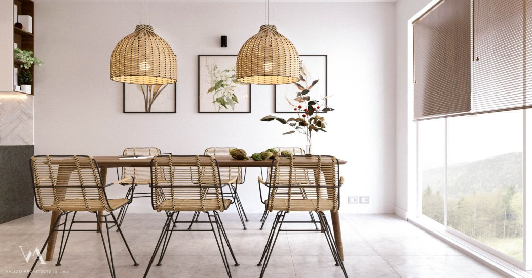 Designer dining room furniture in the apartment