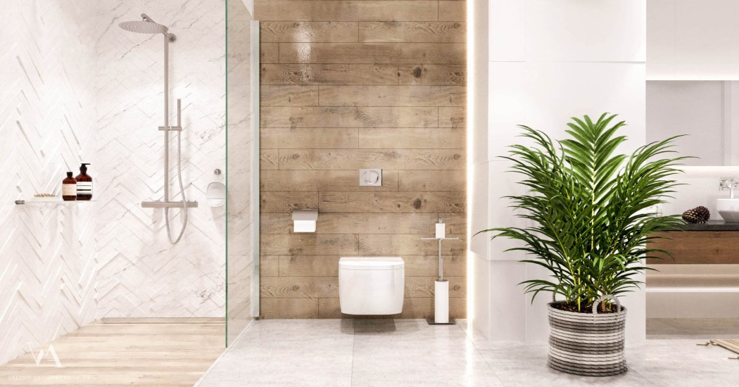 Bathroom in beige tones with shower