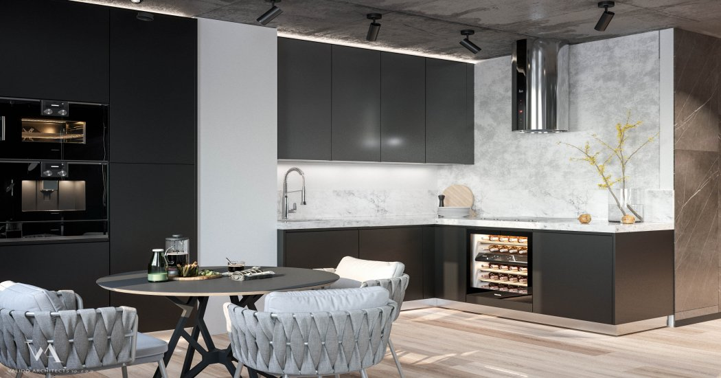 Designer kitchen in dark colors