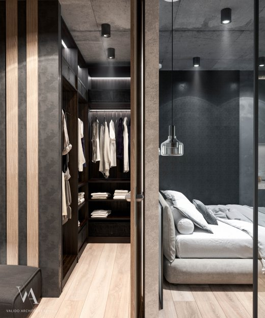 Small dressing room in a one-room apartment