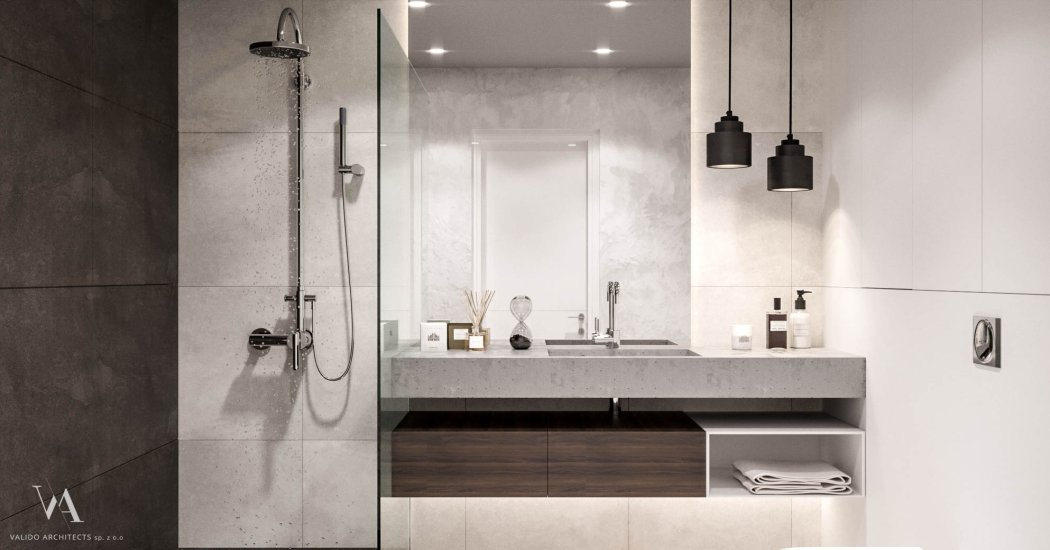 Gray bathroom with shower and large mirror