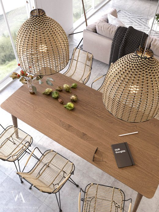 Designer dining room furniture in the style of naturalism