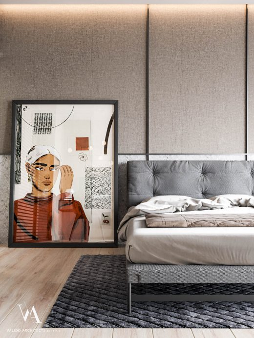 Painting in the interior of the bedroom