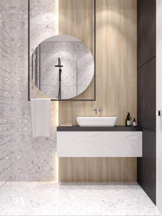 Bathroom with washbasin and beautiful mirror