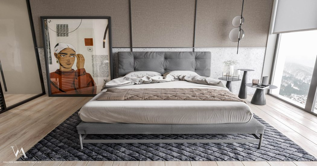 Beige gray bedroom with king size bed