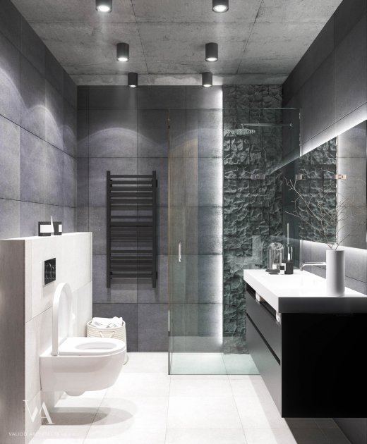 Bathroom in gray tones with shower