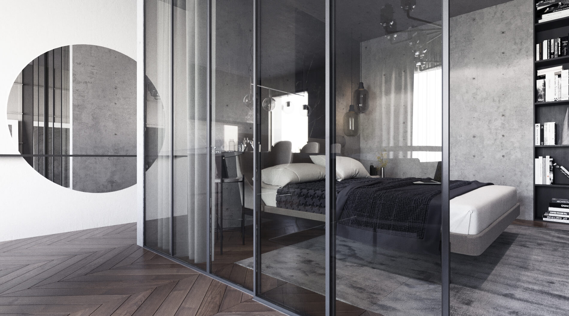 Photo stylish bedroom in dark colors