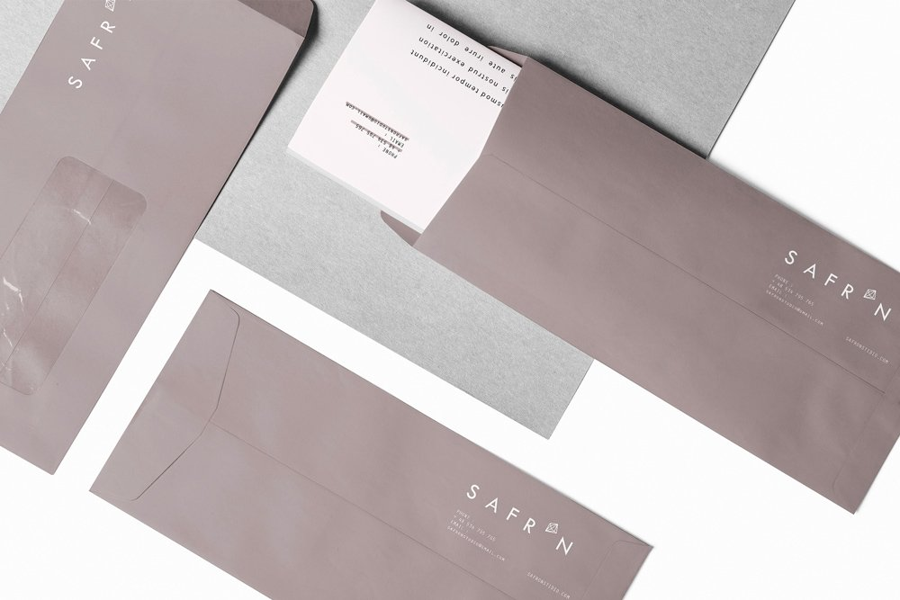Design corporate identity: card letterhead, envelope